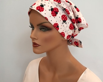 Sandra Women's Surgical Scrub Cap, Cancer Hat, Chemo Head Scarf, Alopecia Head Cover, Head Wrap, Headwear, Hair Loss Large Ladybugs