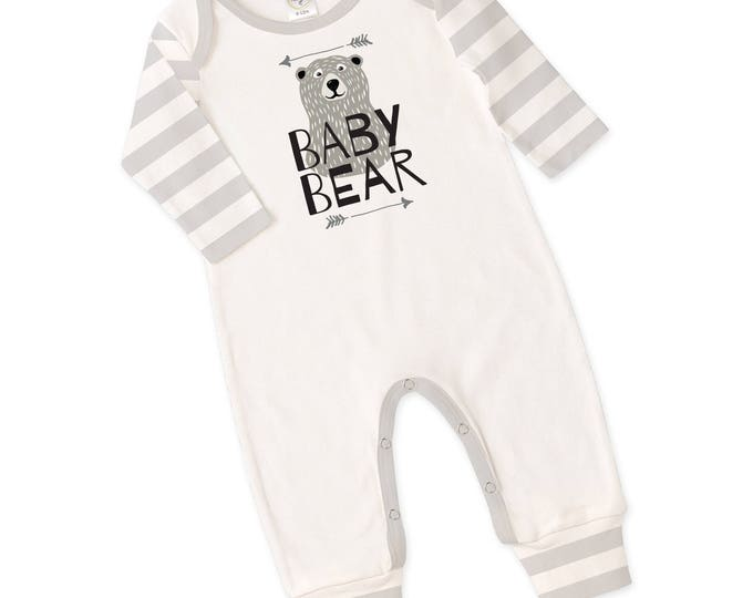 Baby Neutral Outfit, Newborn Unisex Coming Home Outfit, Baby Romper Bodysuit, Long Sleeve, Scandinavian, Gray Stripe, Baby Bear, TesaBabe