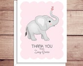 Elephant Note Cards - Folded Note Cards - Personalized Stationery - Personalized Thank You Notes - Illustrated Note Cards