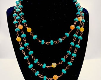 Turquoise and Agate Rosary Style Wrap necklace