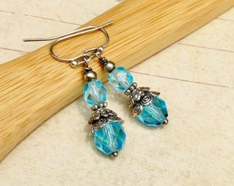 Aqua Earrings, Aquamarine Earrings, Blue Earrings, Silver Earrings, Czech Glass Beads, Womens Earrings, Dainty Earrings, Aqua Blue Earrings