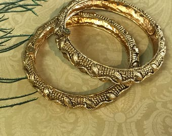 Beautiful 2 gm micro plated gold open able Bangle Pair. Size 2.6/2.8