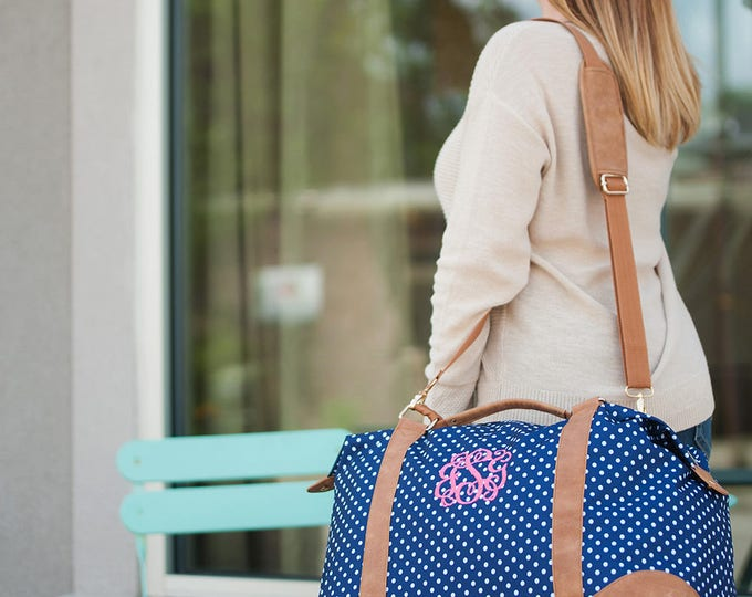 Featured listing image: Monogrammed Weekender Tote Bag | Charlie Dot Tote | Bridesmaid Tote | Teachers Gift | Travel Carry on Bag | Maid of Honor | Mothers Day