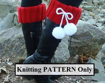 DIY- Knitting PATTERN #134 Knit Santa Boot Cuffs with Pom-poms, Santa Boot Cuff Pattern, Incl 3 Sizes, Instant Download PDF Pattern
