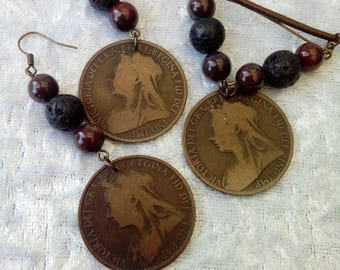 Victorian Penny Necklace and Earring set ~ Steampunk ~ Burlesque ~ Jasper ~