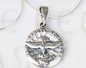 Necklace - Holy Spirit Sterling Silver 18mm + 18 inch Italian Sterling Silver Snake Chain