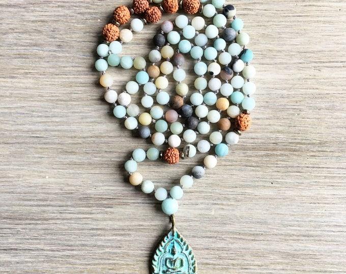 Amazonite Rudraksha Vintage Amulet Mala Beads, 108 Mala, Gemstone, Handmade, Hand-knotted, Meditation, Yoga, Prayer Beads, Chakra