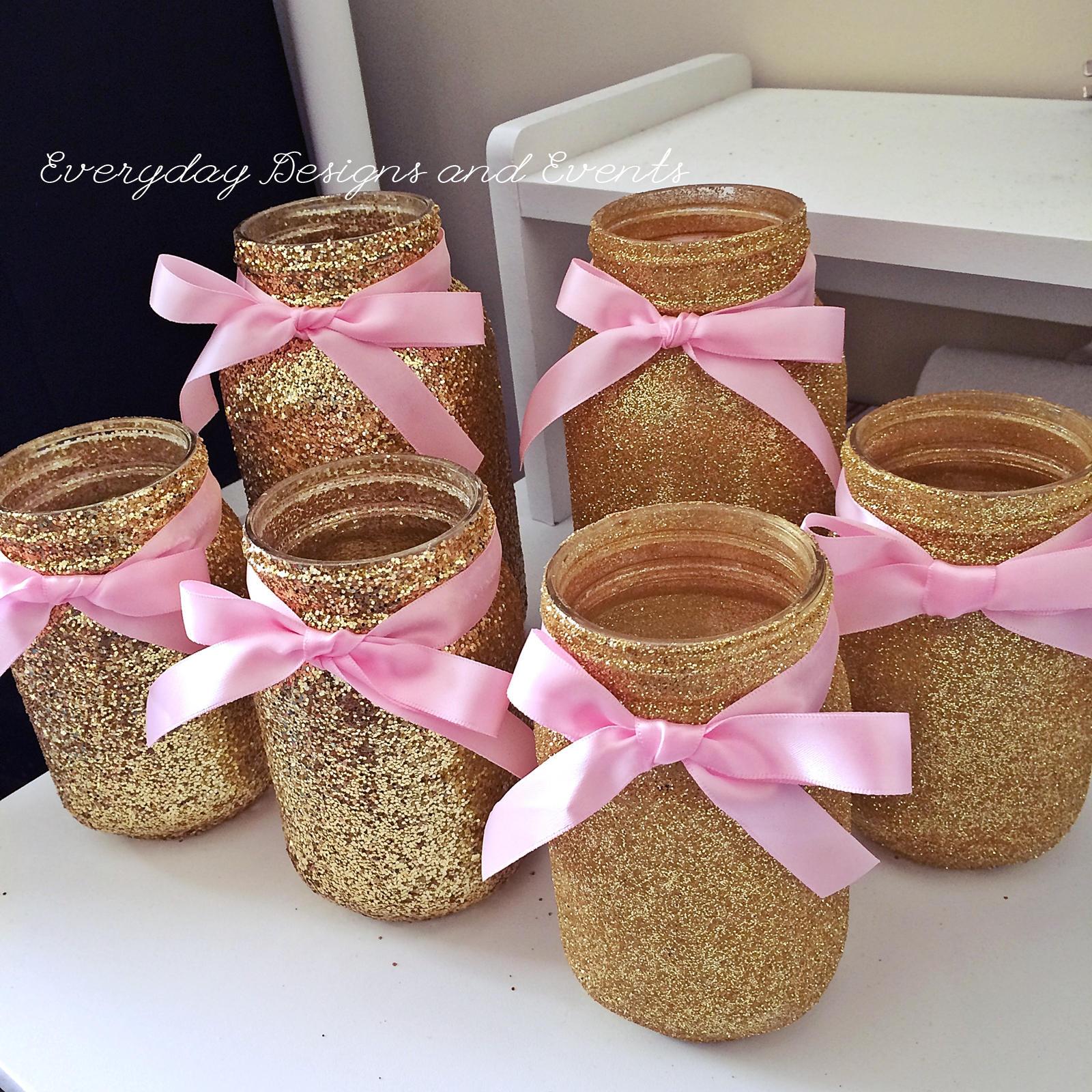 6 Mason Jars Pink Gold, Baby Shower Ideas, Baby Shower Decorations,  Wedding, Wedding Decorations, Wedding Centerpieces, Pink Gold Birthday