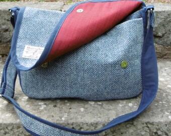 Harris tweed messenger bag