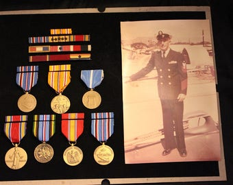 Vintage Military Senior Chief Petty Officer Navy Shadow Box Medals and Ribbons WWII