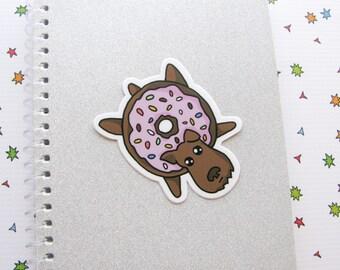 Donut Dog Vinyl Sticker, Scottie, Cute Sticker, Car Sticker, Bumper Sticker, Laptop Decal, Skateboard Sticker, Sprinkles, Chocolate