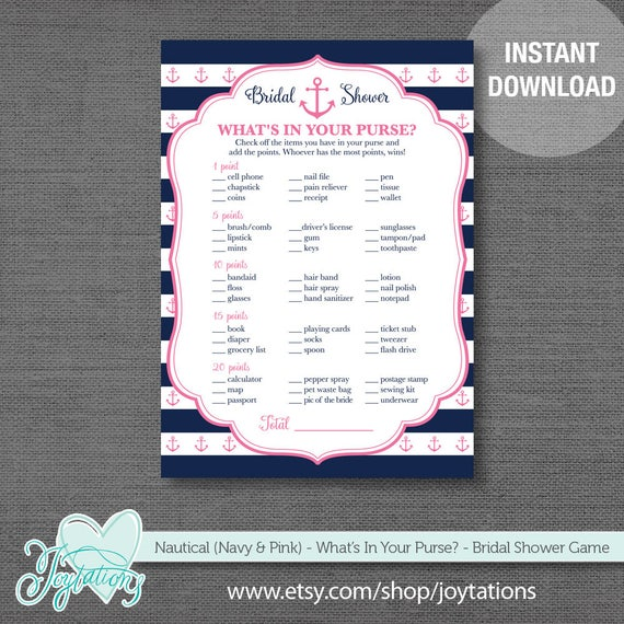 Nautical Navy And Pink What's In Your Purse Bridal Shower