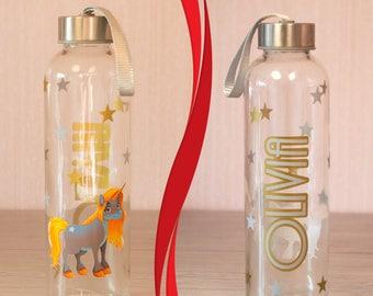 Unicorn - Personalised Water Bottle|tumbler|mason jar|flip straw|funny glass|drink glass|Sports Bottle|Lemon Juice|Kids|Friend|name|stars
