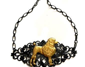 White Poodle Collar Necklace, Gothic, Goth, Black Gold Choker, Art Nouveau, Dog and Animal lovers Gift, Victorian, Antique, Vintage, Retro