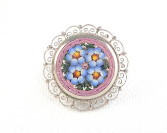 Vintage 1940's Italy Micro Mosaic Brooch Pin Old Pink and Blue Filigree Mosaic Pin White Metal Pink and Blue Mosaic Brooch Gift for Her