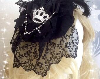 Pretty black Lolita Headress with black roses veil and a beautiful heart- key charm