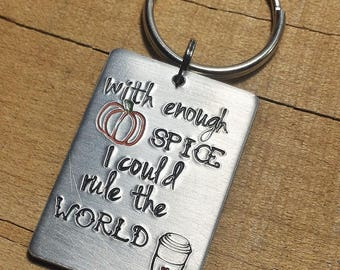 Pumpkin Spice Gift - Coffee Keychain - Coffee Lover - Pumpkin Spice Keyring - Funny Key Ring - Pumpkin Keychain - Pumpkin Key Ring