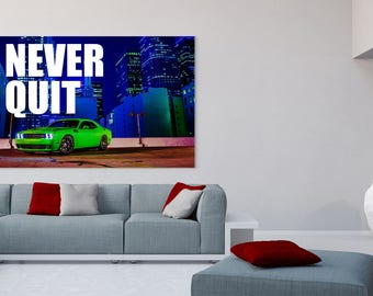 """Challenger """"Never Quit"""" Canvas Poster"""