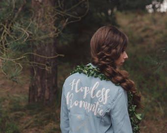 Blue Hopeless Romantic' Hand Painted Faux Leather Jacket Something Blue Customizable Vegan