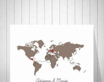 Wedding World Map Signature Guest Book, Bride and Groom Gift, Wedding Anniversary Gift, Wedding Map Alternative Guest Book - 51077
