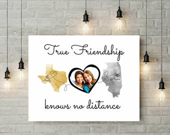Two States Long Distance True Friendship Map | Gold And Gray Long Distance Map | Photo Gift | Two States Map Print - 70677