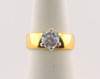 Size 5 18k Gold Plated 1ct Cubic Zirconia Wide Band Ring