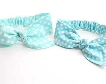 Seafoam or blue polka dot Baby Headband - hair bow in polka dot, Pick one!