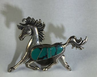 Green Turquoise and Silver Brooch/Pendant with Galloping Horse with Black Veined Turquoise Body