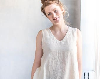 Linen blouse PRAGUE in V neck / swing linen top/ linen tank top