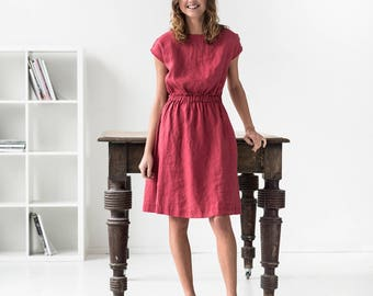 Basic linen dress with elastic waistband  / Washed linen dress available in 34 colors