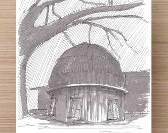 Ink Drawing of house at Tolstoy Park in Montrose, Alabama - Drawing, Art, Architecture, Hand Built, Dome, Pen and Ink, 5x7, 8x10, Print