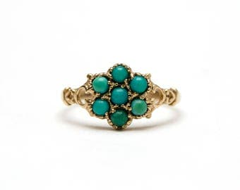 9k Victorian Turquoise Cluster Ring