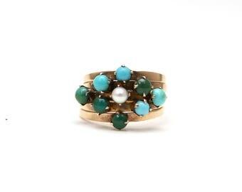 14k Turquoise Pearl Harem Ring