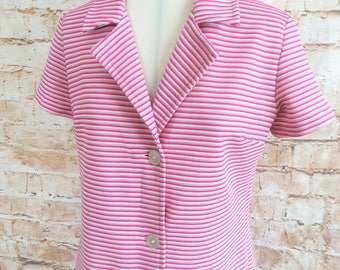 Vintage Dress c 1960s Button Though Crimplene Stripe Mod Scooter GoGo Day Dress 38 in Bust