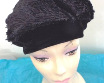Vintage Ladies 1950s  Beret like Hat  Black Tafetta and Black with Button Top