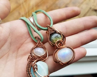 Copper Wire-Wrapped Pendant - Moonstone and Larimar OR Labradorite and Moonstone
