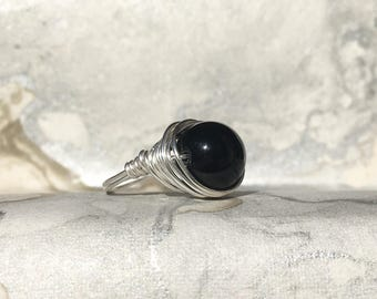 Sterling Silver Wire Wrapped Ring with Black Onyx   Minimalist Rings   Boho Rings   Boho Rings   Statement Rings   Stacking Rings  