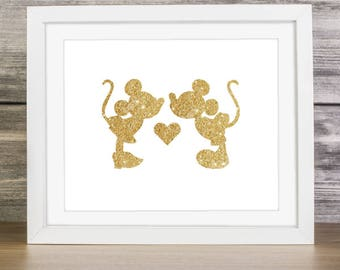 "Gold Glitter Mickey Minnie Kissing Silhouette,  5x7"" 8x10"" incld., DIGITAL PRINTABLE File, Gold Sparkle, Mickey Mouse Clubhouse"