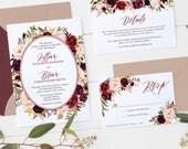 Marsala Wedding Invitation Set Fall Wedding Invitation Suite Watercolor Wedding Invitation Set Printed or Printable Fall Wedding Set - 2021