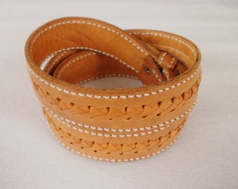 Vintage Tan Leather Belt, Men's Braided Leather Belt, Vintage Western Belt, Tan Leather Belt with Hidden Compartment, Size 40 Leather Belt