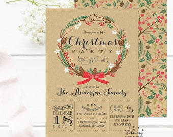 Rustic Christmas Party Invitations Holiday Party Invitation Printable Company Christmas Party Invitations Kraft Invite Printable No.519XMAS