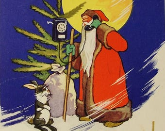 Happy New Year! Illustrator E. Argutinsky - Vintage Soviet Postcard, 1963. Santa Claus Hare Phone Spruce Moon Night Winter Christmas Print