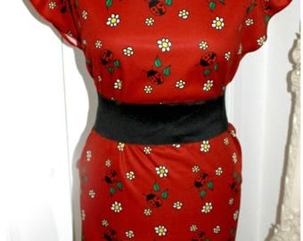 Bespoke Red Ladybird Tunic pencil cute Dress - Custom printed fabric!