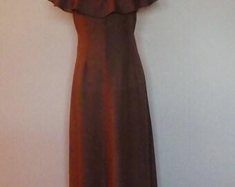 True Vintage Fifties 50s brown striped maxi dress - UK 10