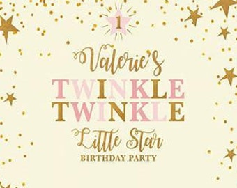 Custom Twinkle Twinkle Little Star 1st Birthday Backdrop Banner Background Photo Booth  (Any Text color)  Baby Shower