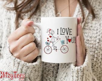 "Valentine's Day Coffee Mug Girl Riding Bike ""I Love You"" Personalized St.Valentine's Day Gifts Ideas"