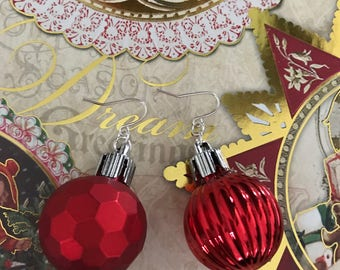 Ornament Earrings, Ready to Ship, Holiday Jewelry, Christmas Earrings, Christmas Present, Stocking Stuffer