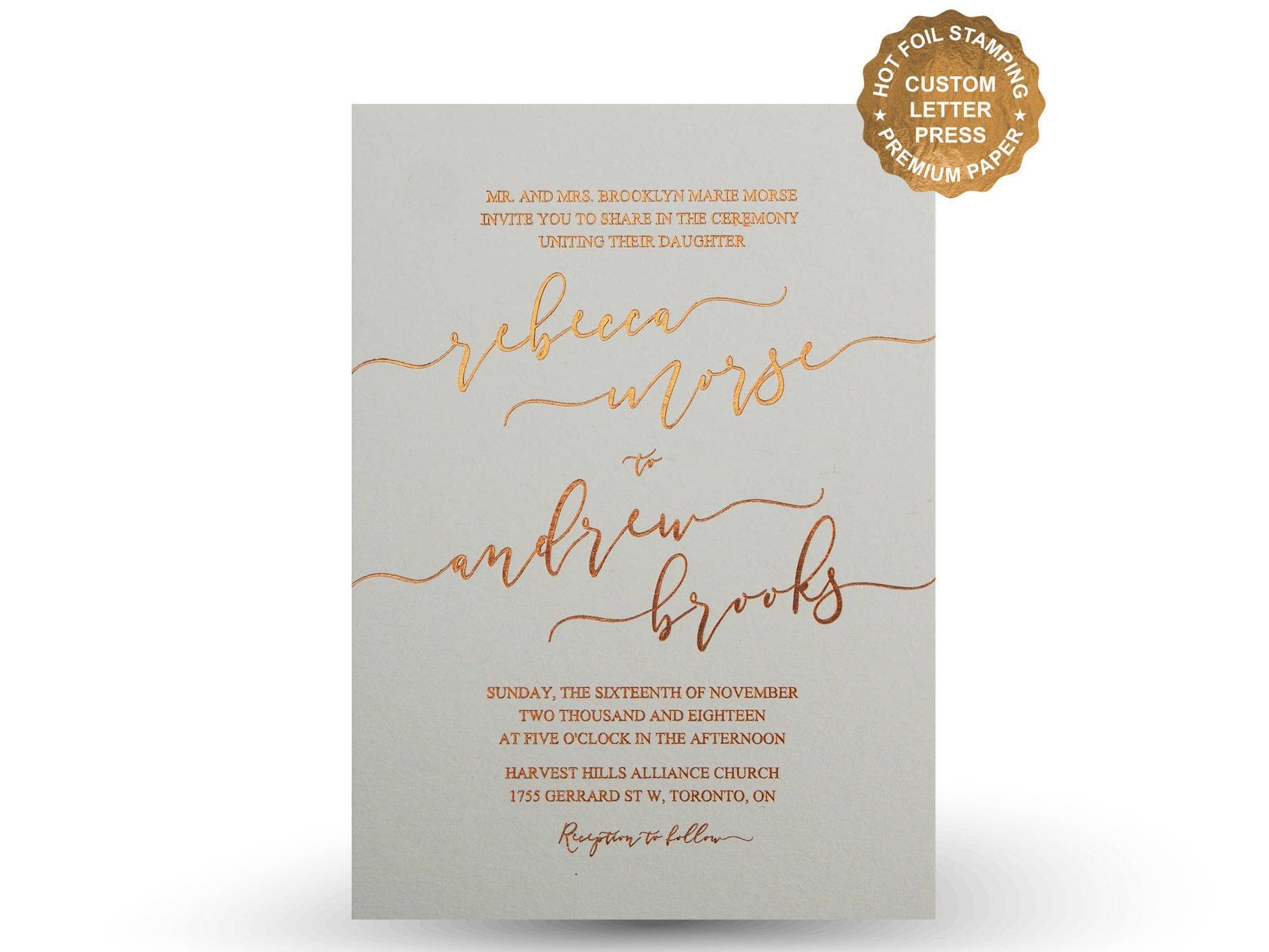 Gold wedding invitation Hot Foil Letterpress Invitation set Gold ...