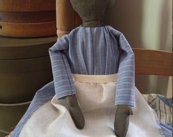 Primitive Black Cloth Faceless Prairie Doll