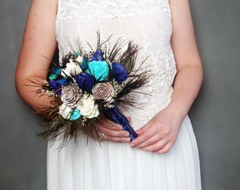 Dark Navy Blue Turquoise Real PEACOCK Feathers Wedding BOUQUET Cedar Rose Sola Flowers Satin Ribbon Elegant